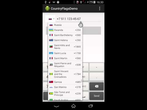 Android Phone EditBox with validation and country flag