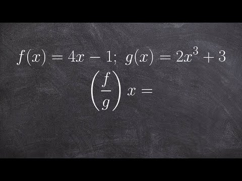 Algebra 2 - Find the domain from division of two functions, f(x)=4x -1; g(x)=2x^3 +3; (f/g)(x)=?