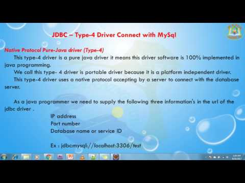 Lesson - 12 : JDBC -  Type-4 Driver Connect with MySql using JDBC