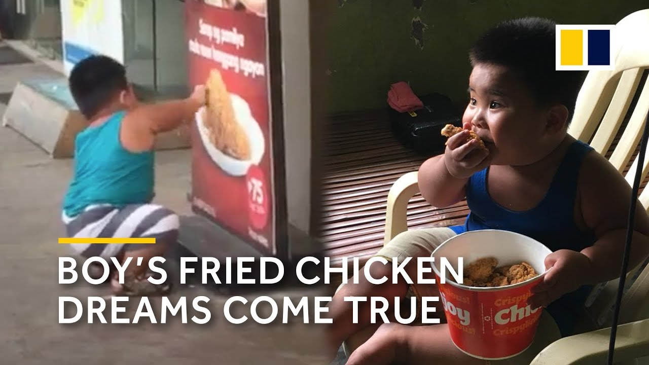After he tries to eat off poster, boy's fried chicken dreams come true