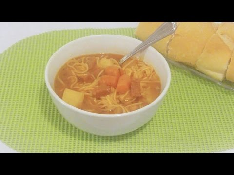 Sopa De Fideos Con Salchichón (Puerto Rican Salami Soup) {Recipe}| Episode 140