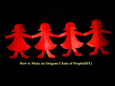 How to Make an Paper Origami Chain of People(DIY)