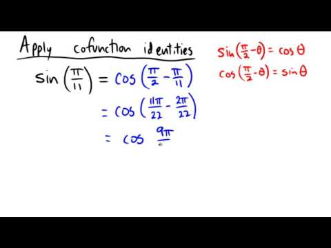 Applying the cofunction identity in either radian or degree mode