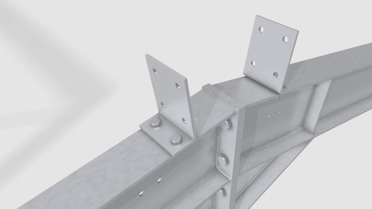 Steel Frame construction 3D animation