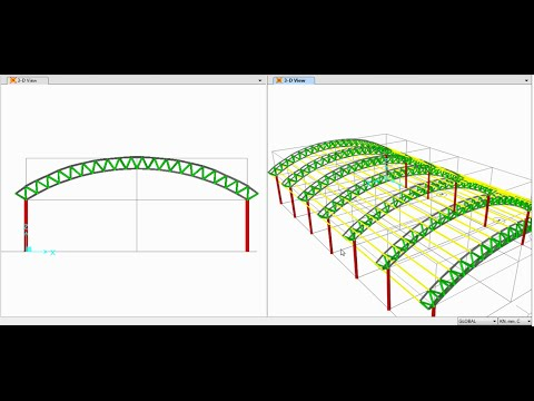 SAP2000-Modeling, Analysis and Design of Space Truss(Triangular Arch Truss) 01/02