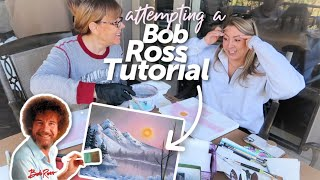 My mom and I attempted to follow a Bob Ross painting tutorial....yikes