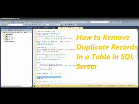 How To Remove Duplicate Records From a Table In SQL Server