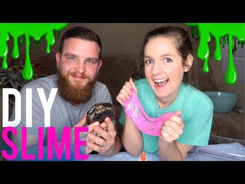 DIY Pink Glitter Slime feat. My Turtle & Husband