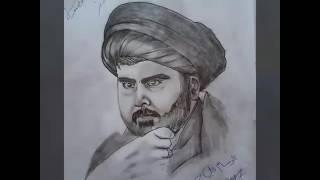 #x202b;رسم صوره السيد القائد مقتدى الصدر الرسام علي جبر#x202c;lrm;