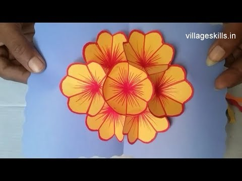 DIY 3D pop up flower card making ideas ,how to make very easy  pop up card,hand made craft,