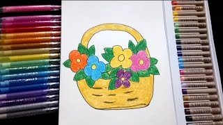 How To Draw Flower Basket For Kids In Simple Way