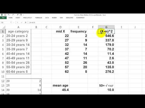 Mean, Median, and SD for Grouped Data