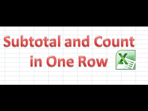 How to Apply Subtotal and Count in same Row in Excel