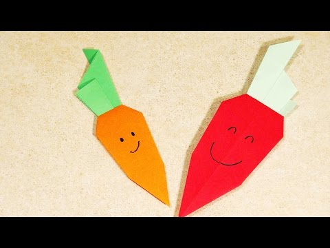 PAPER CRAFTS FOR KIDS Easy origami for kids ORIGAMI CARROT Origami Craft HOW TO MAKE PAPER CARROT