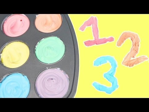 LEARN NUMBERS with Edible Finger Paints | DIY Frozen Paint For Toddlers!
