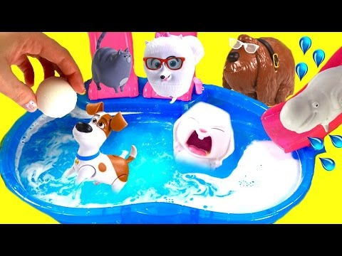 The Secret Life of Pets Dive for Toys in Bath Bomb Pool!   & Mashems!