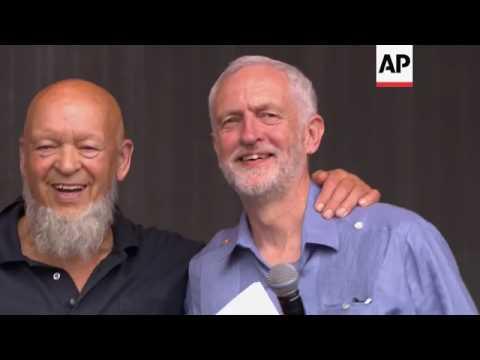 UK opposition leader  Jeremy Corbyn addresses Glastonbury crowds