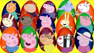 LOTS of PEPPA Pig Play-doh Surprise Egg Toys, George Suzy Friends, Learn Colors Nick Jr. / TUYC