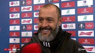 Nuno Espirito Santo reacts to Wolves' FA Cup exit at Old Trafford