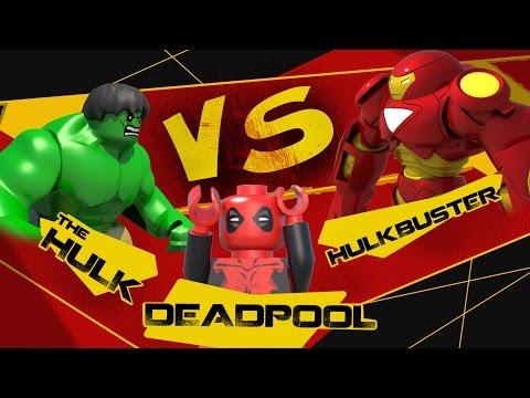 HULK v DEADPOOL v HULKBUSTER LEGO Marvel Battle