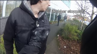 Biker stops robbers from escaping!