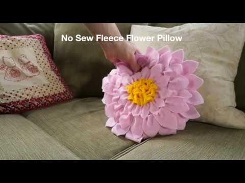 No Sew Fleece Flower Pillow