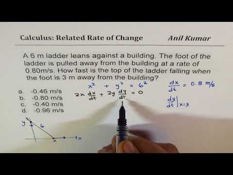 Related Rates of Change Calculus Application Exam Review Multiple Choice