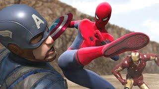 Civil War - Iron Man vs Captain America -  Part1 (FIGHT SCENE) feat new Spiderman: HOMECOMING