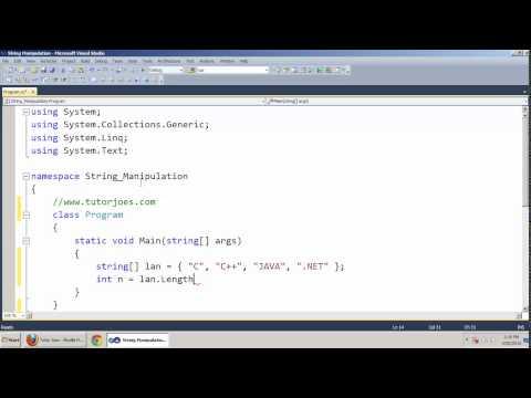 Manipulating Strings in Array In C#.NET Tamil
