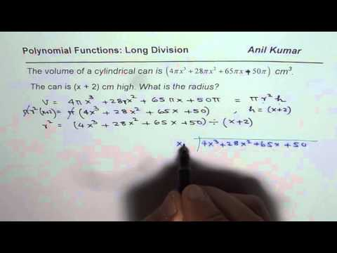 Polynomials Equations Test Find Radius of Cylinder from Give Volume and Height