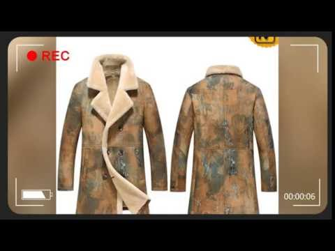 Men's Printed Double Breasted Sheepskin Coat CW816116 | jackets.cwmalls.com