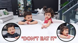 DON'T EAT IT UNTIL I COME BACK CHALLENGE! *ON TWINS*