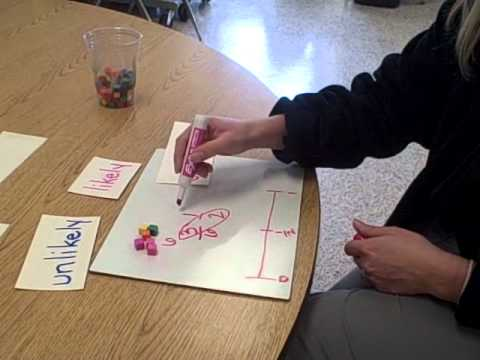 fractions with probability vocabulary on a number line