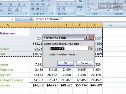 Apply a Table Style in Excel 2007