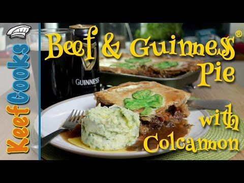 Beef and Guinness Pie with Colcannon for St Patricks Day @PieRecipes