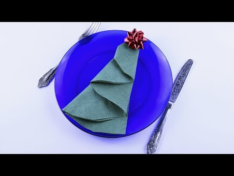Christmas decorations ❄ DIY Tree of paper napkin folding Table Setting