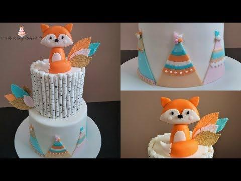 Woodland Fox Birch Tribal Cake Tutorial!