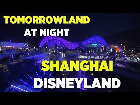 Tomorrowland with TRON ride at night in Shanghai Disneyland