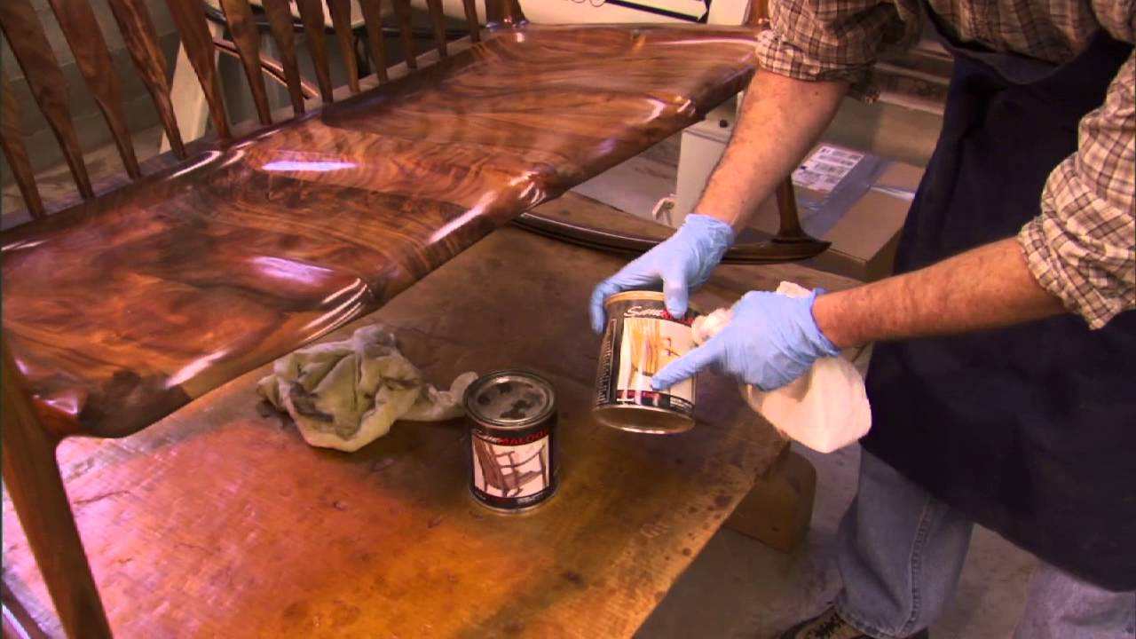 Woodworker Mike Johnson of Maloof Studio varnishes a rocker and talks about the process