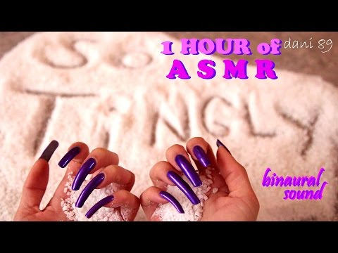 ❖ NEW salt sound!! 🎧 1 HOUR of intense binaural ASMR! 🔊 ↬ long natural nails in purple ↫ 👂+TINGLES 💤