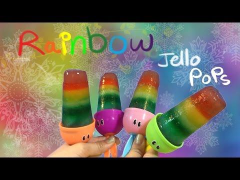 Rainbow Jello Popsicle Ice cream - colorful,yummy -