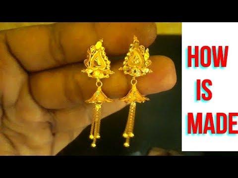 How is Made Women  Gold Earrings||Make a 22kt hallmark gold earrings