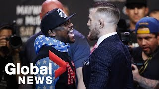 Floyd Mayweather vs. Conor McGregor face off full press conference ahead of August showdown