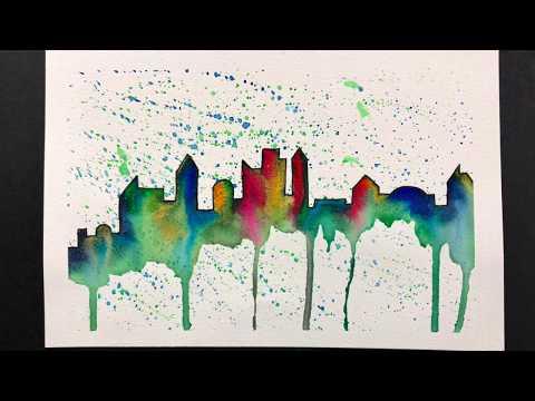 ClassPlan - watercolor splash city skyline in English asmr