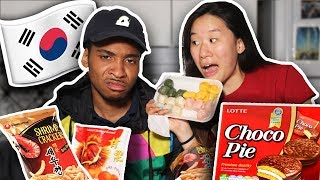 Download My Fiance Tries Korean Snacks For The First Time! | SLICE n RICE 🍕🍚 Video