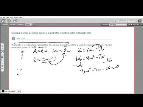 Solving a word problem using a quadratic equation with rational roots