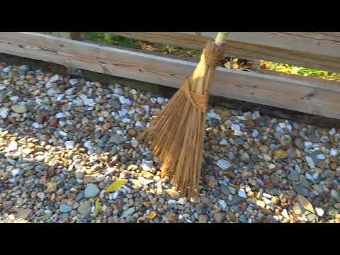 Shop Vac + Original Garden Broom to remove leaves from a rock driveway