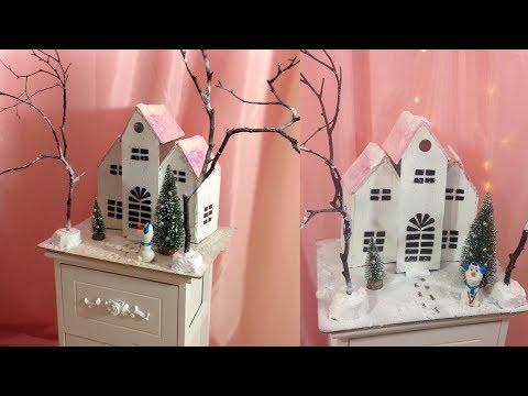 Christmas  crafts.MIniature winter house DIY