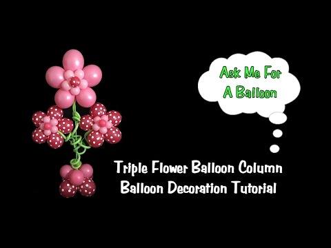 Triple Flower Balloon Column - Balloon Decoration Tutorial