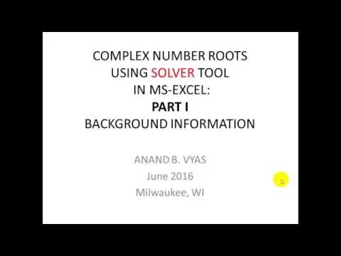 COMPLEX ROOTS USING MS EXCEL PART 1